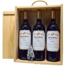 Sarkanvīns 3 Imperial  en caja de madera