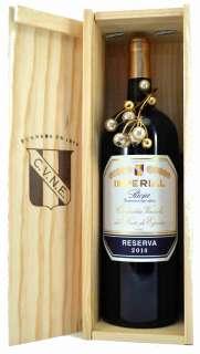 Sarkanvīns Magnum Imperial  en caja de madera